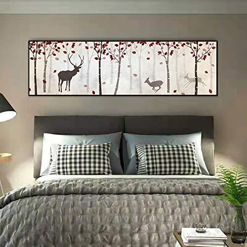 WSNDGWS Minimalista Moderno Decoración del hogar Forest Elk Sofá Fondo Pintura de la Pared Dormitorio Imagen de la cabecera Sin Marco E4 45x160cm