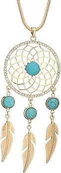 BIRSTONE Dream Catcher Feather Turquoise Pendant Necklace