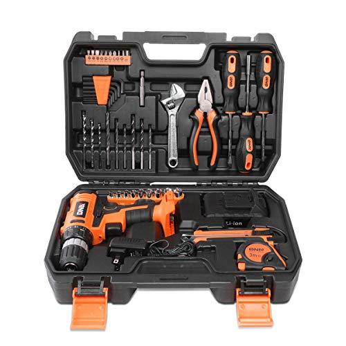 DNA Motoring TOOLS-00020 Orange 46 Pcs 18V Cordless Power Drill Driver Bit Set w/Charger+Screwdrivers+Pliers Home Repair Kit