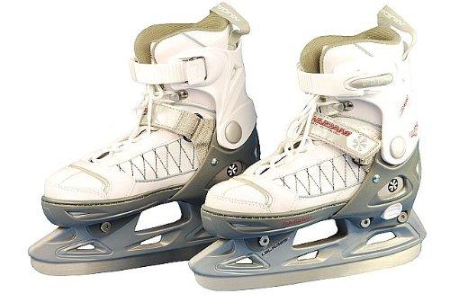 Jomax Eishockey Schlittschuh Kinder größenverstellbar Softboot (29-32||weiß silbergrau rosa)