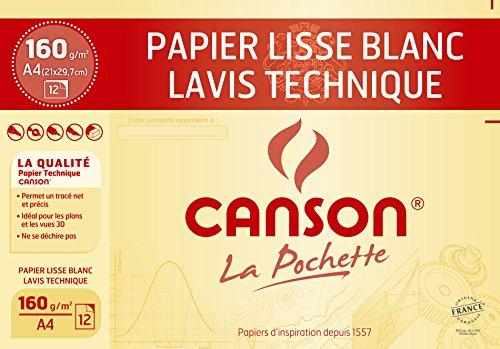 Canson Technique Papier à dessin A4 21 x 29,7 cm 12 feuilles Blanc