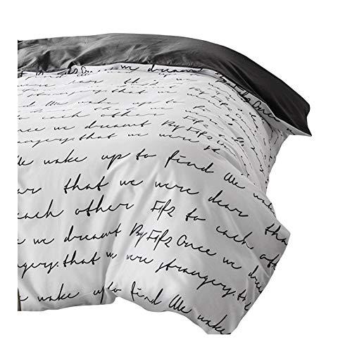Schreiben Bettbezug Weiß, Schwarz, Grau Tröster/Quilt/Decke Fall Twin Voll Königin König Doppel Bettwäsche 220x240 200x200 150 (Color : Black, Size : 155x215)