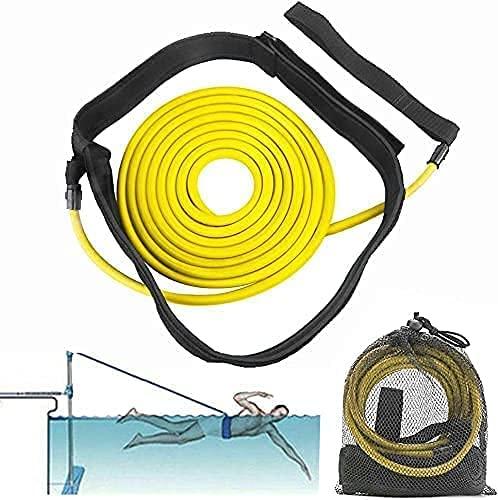 FOOING Schwimmgurt für Pool, Einstellbare Pool Schwimmgürtel für Kinder / Erwachsene, Schwimmwiderstand Gürtel Schwimmtrainer Gürtel Leine für Schwimmingpools Widerstandstraining (3M)