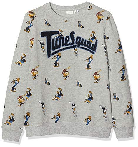 NAME IT Jungen NKMLOONEY Alexander Sweat BRU WAB Sweatshirt, Mehrfarbig (Grey Melange Grey Melange), 134/140 (Herstellergröße:134-140)