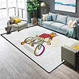 Retro Rugs for Living Room Bathroom Rugs and mats Sets Hipster Goat on Bicycle Fashion Model Horns Hooves Teenager Boy Colorful Artwork for Kids Baby Room Bedroom Nursery Multicolor 6 x 8.8 Ft