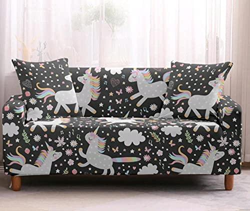 Protector de sofá con Unicornio Arcoiris Estampado,Fundas de Sofá Elasticas de 4 Plazas,Poliéster Suave con Funda elástica,Antideslizante Protector Cubierta de Muebles