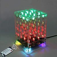 エレクトロニクス部品 リモコン4x4x4のデュアルカラーLEDキューブ3Dライトスクエア電子DIYキット (Color : Red+Green)