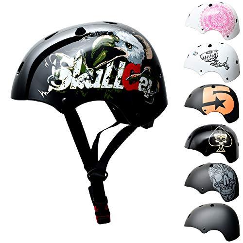 Skullcap BMX Helm - Skaterhelm - Fahrradhelm - Herren Damen Jungs & Kinderhelm, schwarz Glanz, Gr. S (53 - 55 cm), Eagle