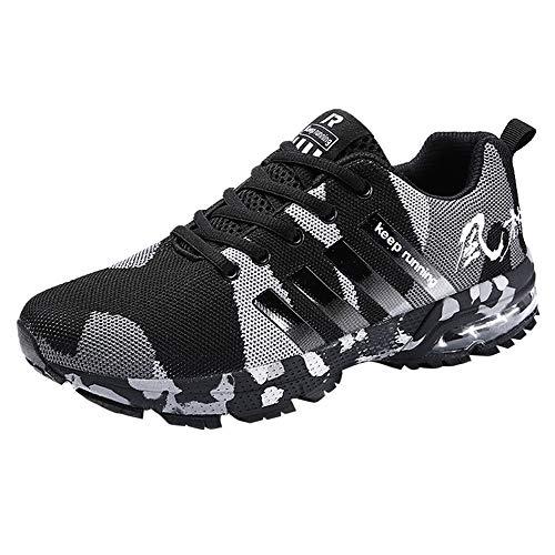 LQQSTORE Schuhe Herren Sneaker Camouflage Air Cushion Laufschuhe Turnschuhe Freizeitschuhe Leichte Bequeme Fitnessschuhe für Männer, Mode Mesh Atmungsaktive Laufschuhe Sportschuhe (39 EU, Schwarz)