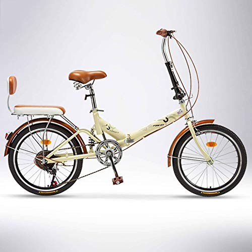 BEIGOO 6 Vitesses Vélo Pliant,Facile à Transporter Léger Freins à Disque Shock Absorption Vélo Pliable,avec Porte-Bagages Arrière,Retro Vélo Adulte pour Homme Et Femme-Couleur crème-20Pouces