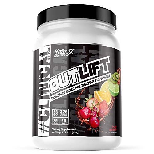 Nutrex Research Outlift, Clinically Dosed Pre-Workout Powerhouse, Citrulline, BCAA, Creatine, Beta-Alanine, Taurine, Banned Substance Free, Fruit Punch, 20 Servings