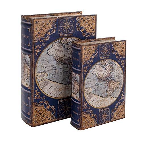 BY SIGRIS Signes Grimalt Libros Decorativos | Caja Libro de Madera - Diseño Mapa 1-27 x 7 x 18 cm
