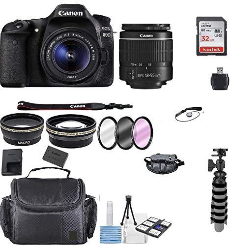 Canon EOS 80D DSLR Camera w/EF-S 18-55mm F/3.5-5.6 III Zoom Lens+ 32GB Memory Card+ Flex Tripod+ TopKnotch Deals Cloth (International Model) Bundle
