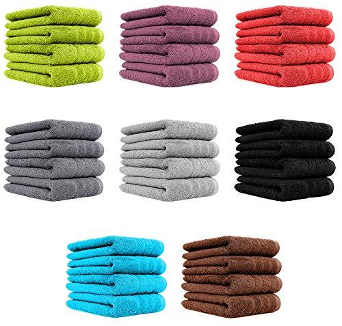 4er Pack Handtücher Set 50x100 cm 100{7986ec3127e3049b8cff51853d1645f15e907b09e9980777061547adf0604a09} Baumwolle Qualität 600 g/m² in 8 modernen Farben Aubergine