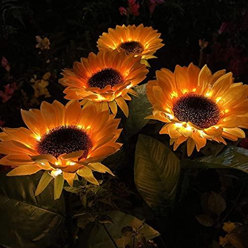 Luces de jardín de girasol solares al aire libre, luces de estaca de 4 paquetes, navidad, iluminación decorativa de paisaje LED para jardín, patio, camino de césped, patio trasero