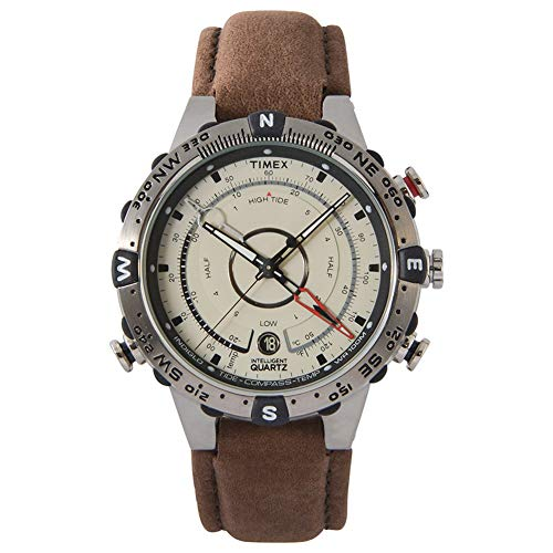 Timex Men's T2N721 Intelligent Quartz Compass Tide Temperature Silver Case Brown Strap Watch