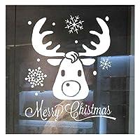 クリスマスウォールステッカーウォールウィンドウステッカーエルクメリークリスマスリビングルームベッドルームキッチンキッズボーイズガールズルームステッカー壁紙取り外し可能な家の装飾再利用可能な壁画