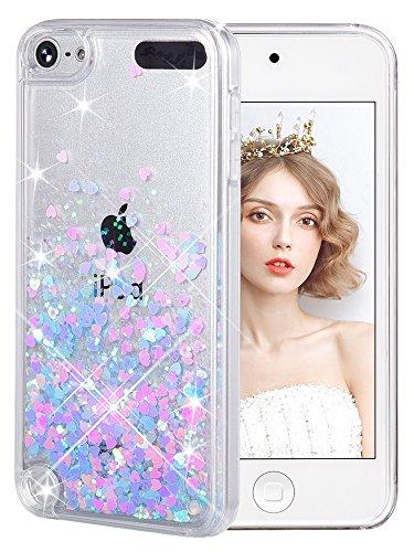 wlooo Coque pour iPod Touch 5/6/7, iPod Touch 5 Silicone Coque, iPod Touch 6 Glitter Liquide Paillette Protection TPU Bumper Housse Étincelle Pente Antichoc Souple Brillante Étui (Rose Bleu)