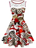 Women's Plus Size Christmas Cat Lace Printed Dress Round Neck Sleeveless Cute Party Cocktail Dresses