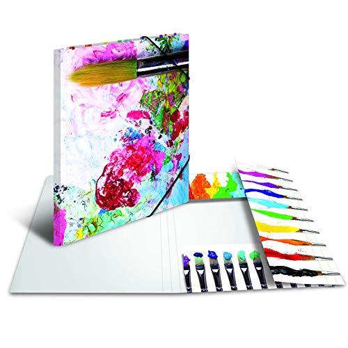 HERMA 19229 Sammelmappe DIN A3 Impressions Farben, stabile Pappe, Ordnungsmappe mit farbig bedruckten Innenklappen und Gummizug, Zeichenmappe für Kinder, Mädchen und Jungen