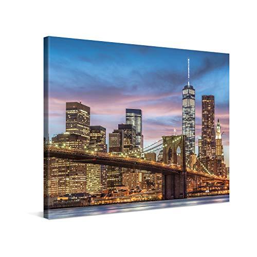 PICANOVA – New York Manhattan Brooklyn Bridge 80x60cm – Cuadro sobre Lienzo – Impresión En Lienzo Montado sobre Marco De Madera (2cm) – Disponible En Varios Tamaños – Colección New York
