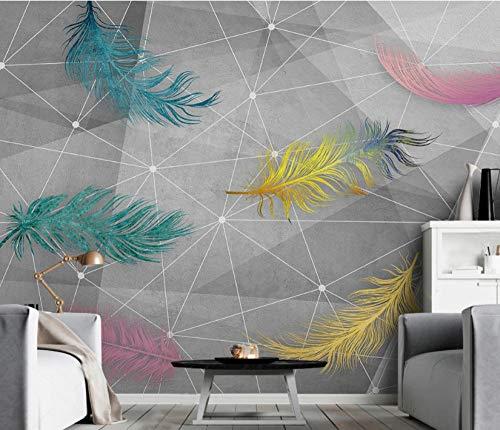 Geométrica línea sólida color pluma papel pintado mural TV sofá fondo pared 400×280cm
