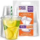 Stack Man [100 Sets - 12 oz.] Clear Plastic Cups with Straw Slot Lid, PET Crystal Clear Disposable 12oz Plastic Cups with lids