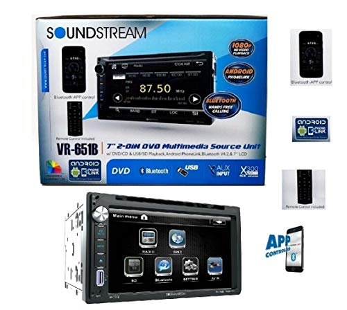 "Soundstream Double Din VR-651B DVD/CD Player AUX SD AM/FM Radio USB 7"" LCD Bluetooth APP Control Android Phone Link"