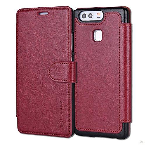 Mulbess Cover Libro Huawei P9,Custodia Portafoglio Huawei P9, Custodia in Pelle con Chiusura Magnetica Flip Cover per Huawei P9 Cover - Rosso