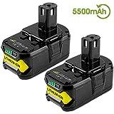 [2 Pack] Boetpcr RB18L50 18V 5,5Ah Batterie de Remplacement pour Ryobi One+ P108 RB18L40 RB18L25 RB18L15 RB18L13 P108 P107 P122 P104 P105 P102 P103 Outils compacts sans fil