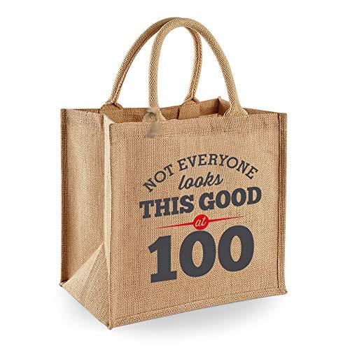 100th Birthday Keepsake Gift Vintage Jute Bag for Women Novelty Shopping Tote