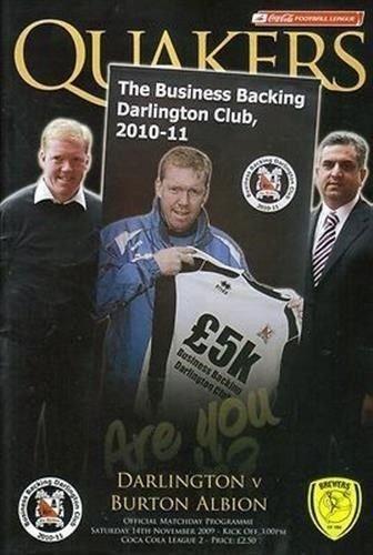 Darlington Burton Albion 14/11/09 football programme