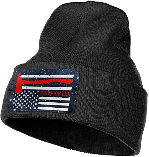 Voxpkrs Unisex Red Line Firefighter USA Pride Flag Outdoor Fashion Knit Beanies Hat Soft Winter Knit Caps Design 453