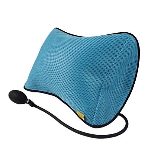 Aufblasbares Reisekissen mit Rückenstütze, tragbares Massagekissen mit Pumpe für Auto, Zuhause, Bürostuhl blau