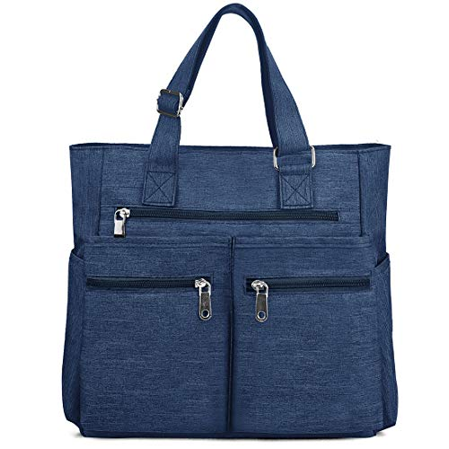 Canvas Tote Bag Waterproof Nylon Multi Pocket Shoulder Bags Laptop Work Bag Teacher Purse and Handbags for Women & Men (Blue 2)