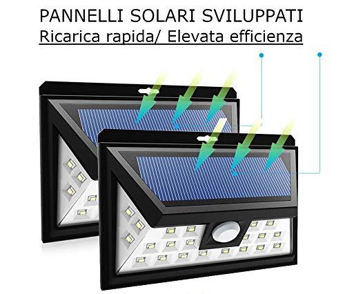 2 x (Coppia) Faretti LED 300lm cad, 24 LED Sensore di movimento, Pannello solare Fotovoltaico, Wireless (no fili elettrici),batteria 2.200mah, Impermeabile IP65,CE,RoHS