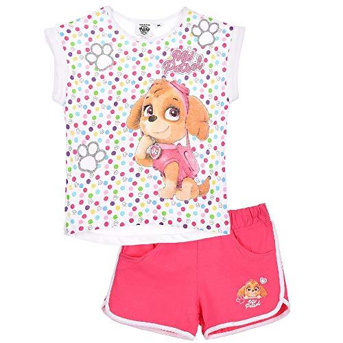 Paw-Patrol Set T-Shirt und Short Mädchen (Weiss, 98)