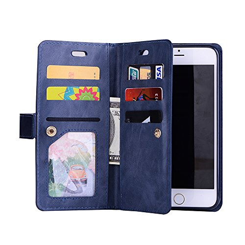 FOLICE iPhone 8 Plus Case, iPhone 7 Plus Case, Zipper Wallet Case [Magnetic Closure]& 9 Card Slots, PU Leather Kickstand Wallet Cover Durable Flip Case for Apple iPhone 8&7 Plus (Blue)