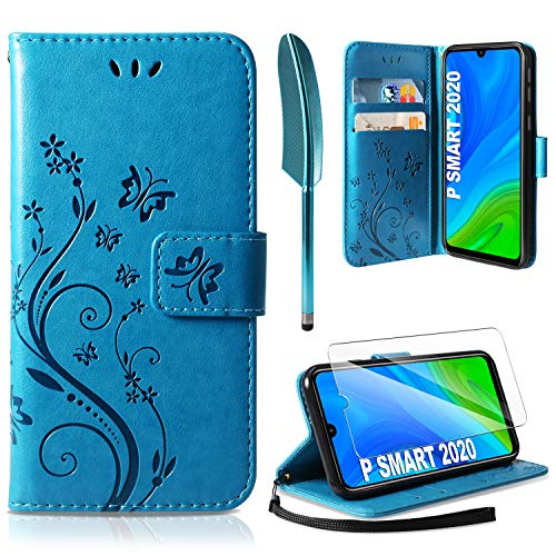 AROYI Coque Huawei P Smart 2020, Retro Design PU Etui Housse en Cuir Portefeuille de Protection [Fonction Stand Video] [Porte Carte Credit Ticket] Flip Case pour Huawei P Smart 2020 Bleu