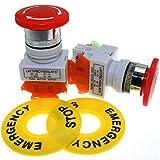 ToToT 2 interruptores de botón de emergencia para parada de emergencia, AC 660 V 10 A, tapa de seta roja 1NO 1NC DPST, equipo de elevación, bloqueo automático, agujero de montaje de 22 mm LAY37-11ZS