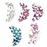 NEPAK 120Pcs 3D Simulación Mariposa Adhesivo de Pared,Artesanías Multicolores Calcomanías de Mariposas,Dormitorio Sala de Estar Mariposa Adhesivo de Pared,Niños Decoración de Dormitorio