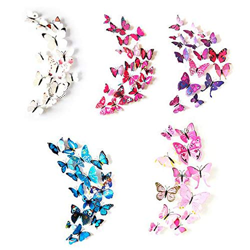 NEPAK 120Pcs 3D Simulazione Farfalla Wall Sticker, Multicolor Artigianato Farfalle Decalcomanie, Camera da letto Soggiorno Farfalla Wall Sticker, Camera dei bambini Arredamento camera da letto