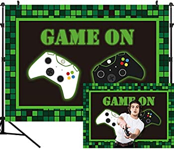 DULUDA Video Game On Party Backdrop Kids Boys Birthday Game Party Photography Background Baby Shower Supply for Boy Kids Photoshoot Decorations Cake Table Banner 9X6FT BD65B