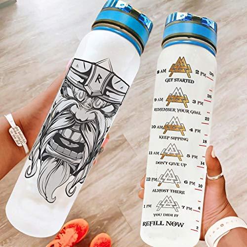 Ftcbrgifk Botella de agua deportiva de 1000 ml Vik-ing a prueba de fugas Botella de agua simple para entrenamientos deportivos con marcador de tiempo motivacional blanco 1000 ml