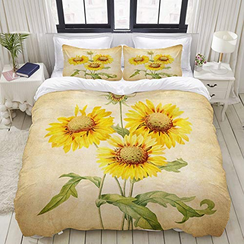 Dodunstyle Duvet Cover,Sunflowers Rustic Summer Floral Grungy Paper Beige Retro Vintage Painting Art,Bedding Set Ultra Comfy Lightweight Microfiber Sets