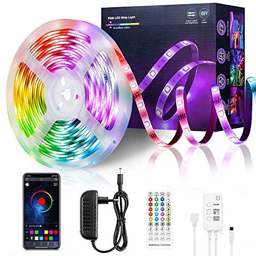 LED Strip 5m, FAUETI RGB LED Streifen, Farbwechsel LED Band mit App Bluetooth Kontroller, Sync zur Musik, Anwendung für die Beleuchtung von Haus, Schlafzimmer und Party