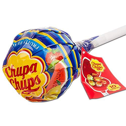 Chupa Chups Lecca Lecca Mega Chups, Lollipop Gigante Contenente 10 Lollipop Gusti Assortiti Fragola, Arancia, Mela, Ciliegia, Anguria, Limone - Ottimo come Idea Regalo per Compleanni e Feste, 1 Pezzo