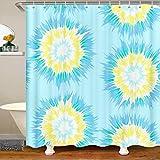 Cortina de ducha estilo bohemio psicodélico para niños y niñas, cortina de baño bohemia brillante de 180 x 200 cm