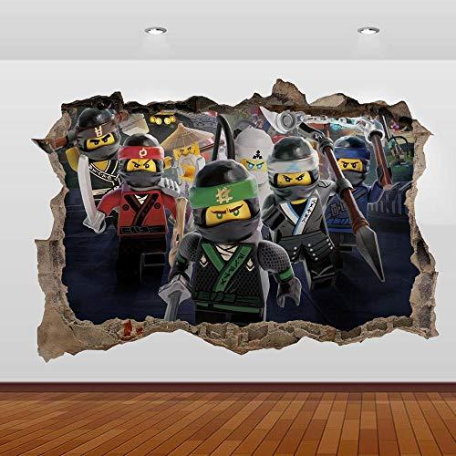 Pegatinas de pared Ninjago Sensei Lloyd Jay Kai 3D Smashed Wall Sticker Poster Decal Mural