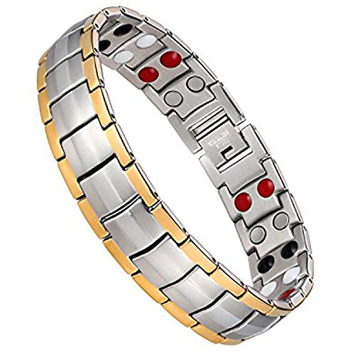 Jeracol Magnetic Bracelet Men Arthritis Bracelet with Double Strength Titanium Magnetic Bracelets for Pain Relief Magnetic Therapy Bracelet Health Gifts with Remove Tool & Gift Box